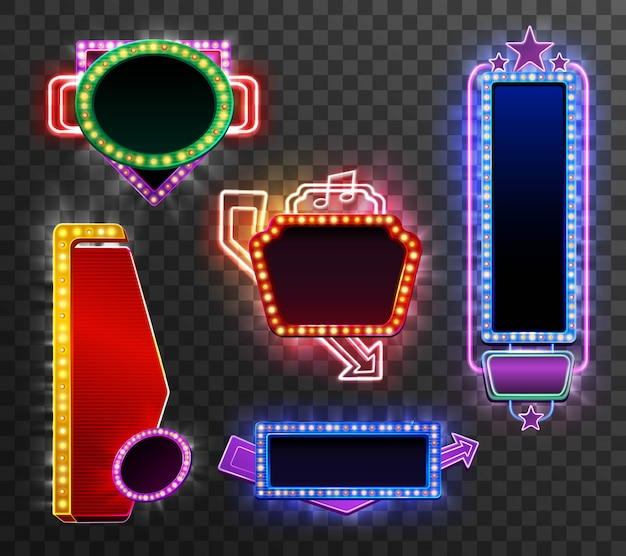 Retro licht banner gesetzt