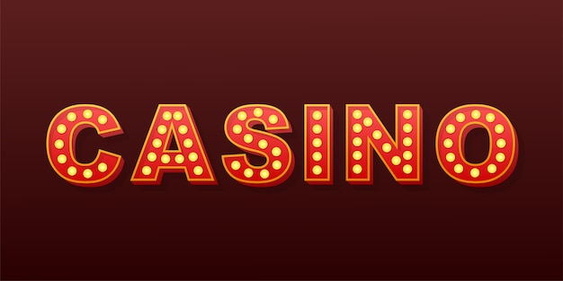 Retro licht text casino. retro glühbirne. lager illustration.
