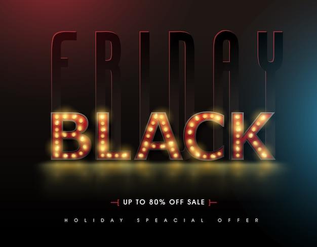 Retro licht zeichen black friday sale banner design-vorlage.