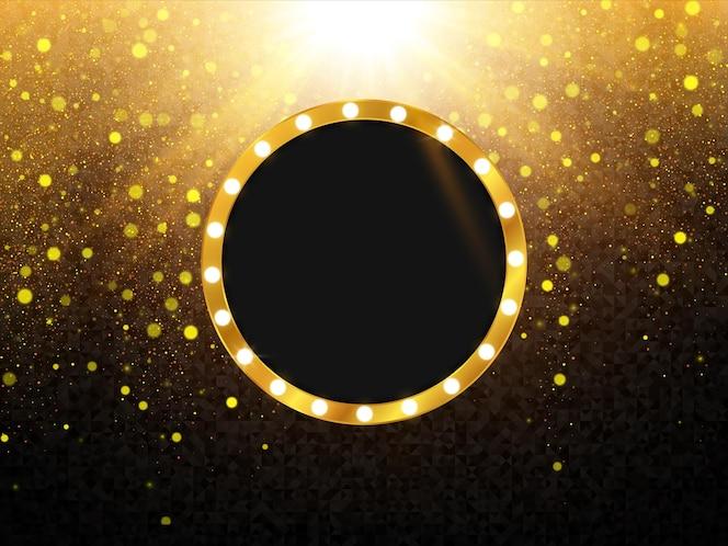 Retro lichtrahmen hintergrund mit gold glitter textur
