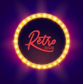 Retro lichtrahmen illustration. neonschild vintage hintergrund. retro-zeichen mit leuchtender glühbirnenschablone ..