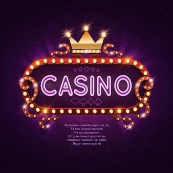 Retro lichtzeichen des vegas-kasinos für spielhintergrund-vektorillustration. banner billboard casino glühen