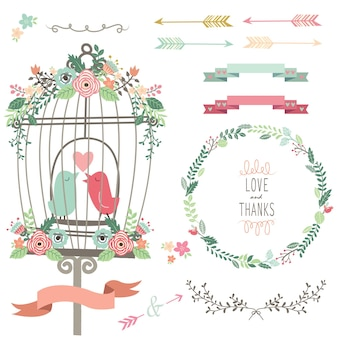 Retro liebe vogelkäfig und hochzeitsblumen