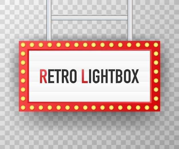 Retro lightbox billboard vintage rahmen. leuchtkasten mit anpassbarem design.