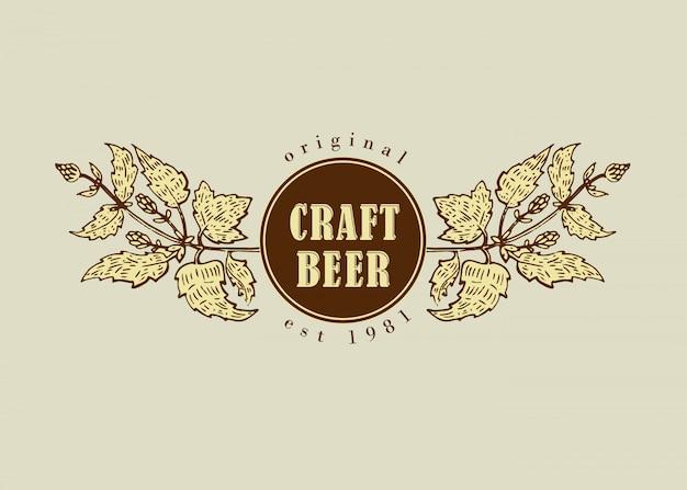 Retro linie kunstausweislogo der ursprünglichen weinlese für bierhaus, bar, kneipe, brauerei, brauerei, taverne, taproom, alehouse, bierhaus, dramshop-restaurant