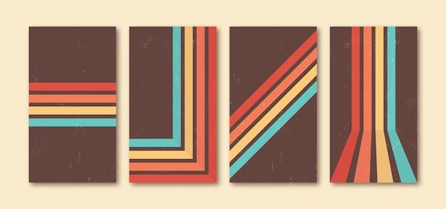 Retro-linien-telefon-wallpaper-set vintage-grunge-stil perfekt für social-media-geschichten-hintergrund
