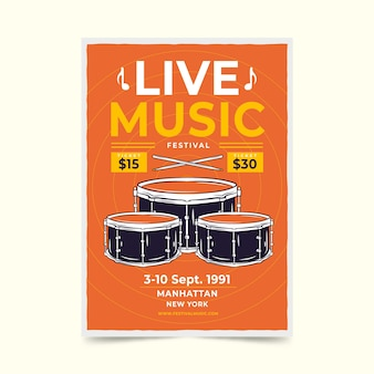 Retro live musik festival poster