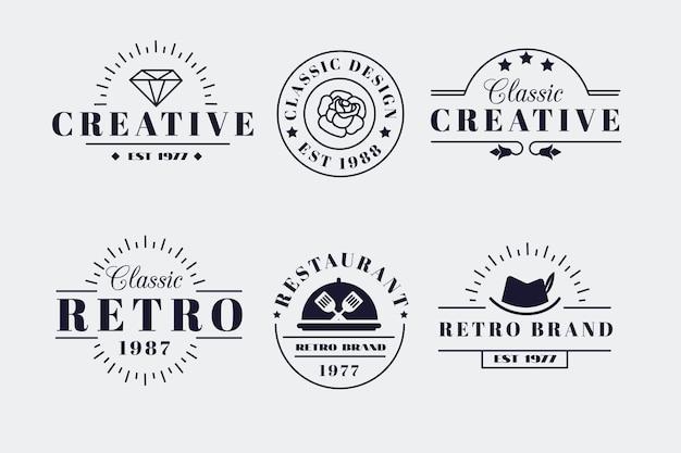 Retro logo kollektion für verschiedene marken