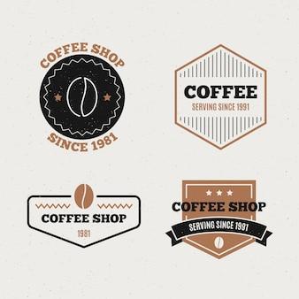 Retro logo-sammlung der kaffeestube