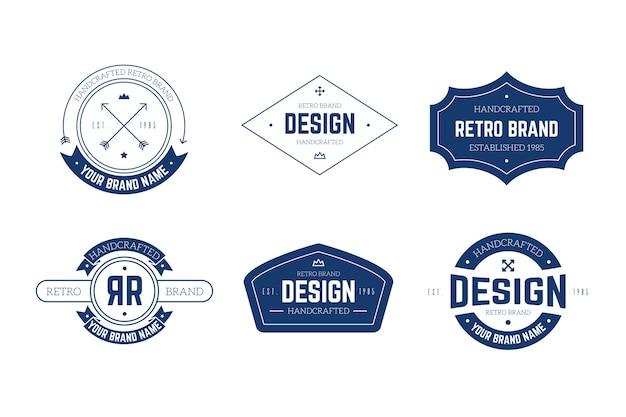 Retro logo sammlung vorlage konzept