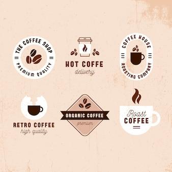 Retro logo-sammlungsdesign der kaffeestube