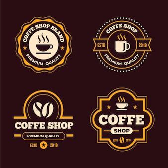Retro logo-sammlungskonzept der kaffeestube