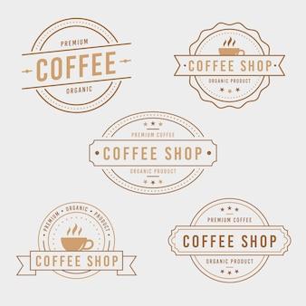Retro logo-sammlungsschablone der kaffeestube