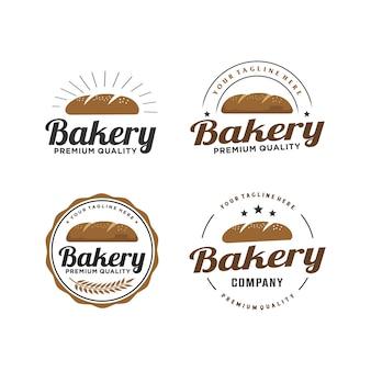 Retro logoentwurf des bäckerei- / brotabzeichens