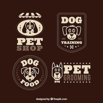 Retro logos mit niedlichen hunden