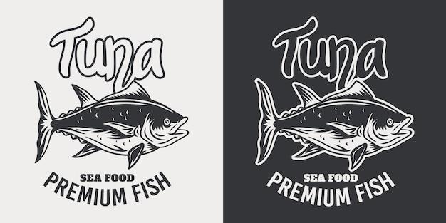 Retro- lokalisierte illustration der weinleseemblemthunfische auf einem weiß.