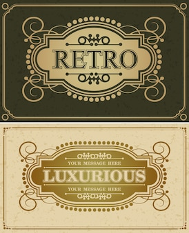 Retro luxuriöses design grenze kalligraphisch