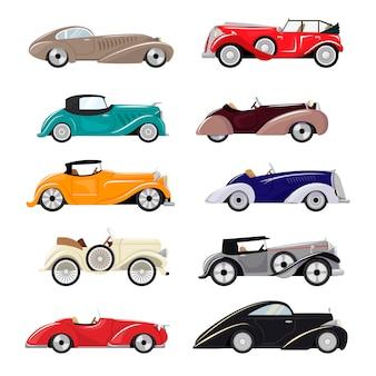 Retro-luxus-autotransport des art-deco-autos retro und moderner automobil-illustrationssatz art-deco des alten automobilfahrzeugs isoliertes stadtauto auf weißer hintergrundillustration
