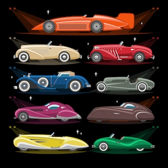 Retro-luxusautotransport des art-deco-autos retro und moderner automobil-illustrationssatz art-deco des alten kraftfahrzeugs und des stadtautos mit lichtscheinwerfer auf hintergrundillustration