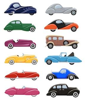 Retro-luxusautotransport des art-deko-autos retro und moderner automobil-illustrationssatz des art-dekos des alten automobilfahrzeugs isolierten stadtautos auf weißem hintergrund