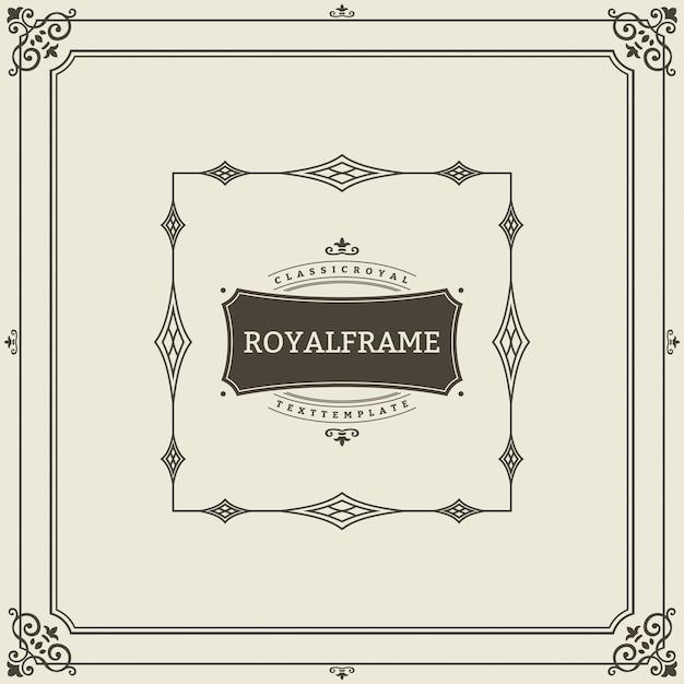 Retro luxuseinladung, königliches zertifikat. schnörkel rahmen. weinleseverzierung, ornamentrahmen