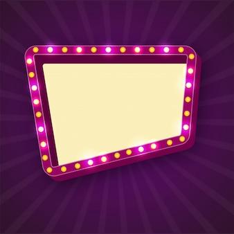 Retro marquee frames mit glühbirnen mit platz für ihren text.