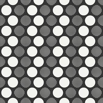 Retro memphis nahtlose muster. abstrakte durcheinanderbeschaffenheiten. kreis, rund, punkt.
