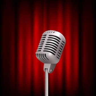 Retro mikrofon auf der bühne. fachmann stehen oben weinlesekonzept der theaterrotvorhangsendung mic