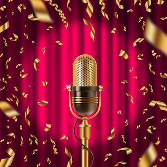 Retro-mikrofon auf der bühne im scheinwerferlicht vor dem hintergrund des roten vorhangs und des goldenen konfettis. illustration