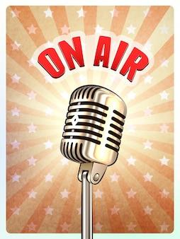 Retro- mikrofon auf luft-hintergrund-plakat