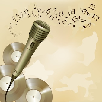 Retro mikrofon auf musikhintergrund