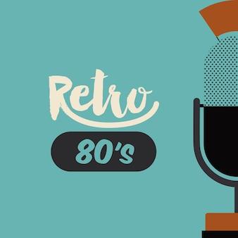 Retro- mikrofonplakat lokalisierte ikonendesign