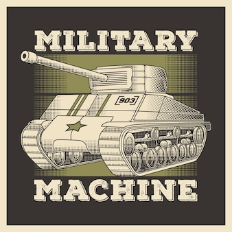 Retro militärfahrzeug schwerer panzer