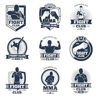 Retro mma vektor embleme und etiketten. kämpfe gegen vintage logos