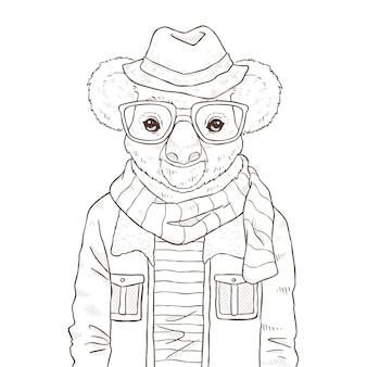 Retro mode hand zeichnen illustration von koala, schwarz und weiß le