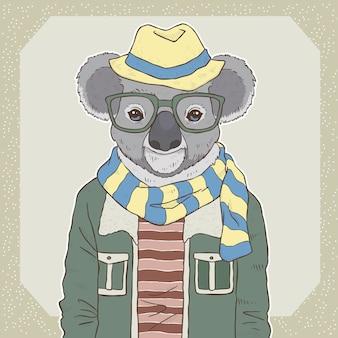 Retro mode hand zeichnen illustration von koala