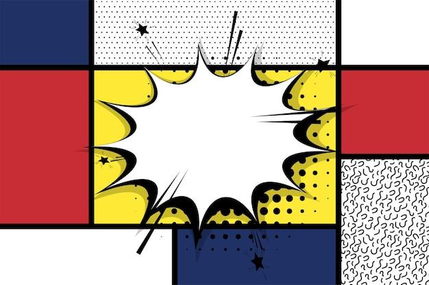 Retro mondrian rot gelb blau geometrischer hintergrund comic text sprechblase box