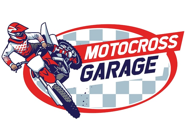 Retro motocross abzeichen design