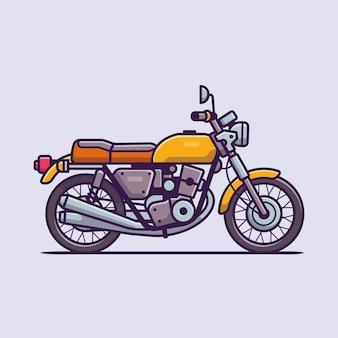 Retro motorrad cartoon icon illustration. motorrad-fahrzeug-symbol-konzept isoliert. flacher cartoon-stil