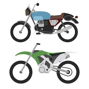 Retro motorrad und motorcross fahrrad auf weiß