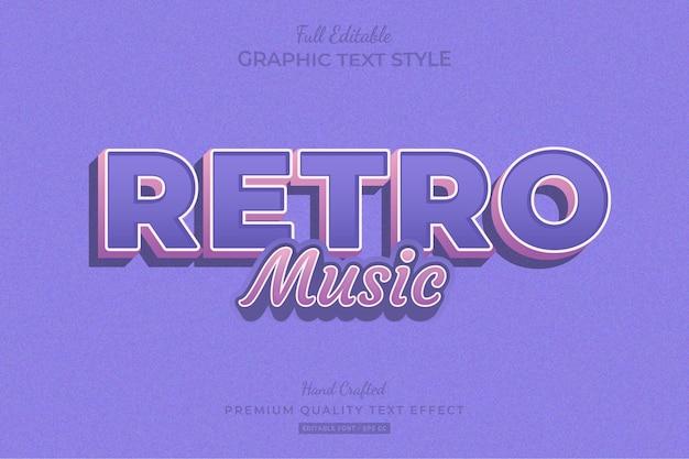 Retro-musik bearbeitbarer premium-texteffekt-schriftstil