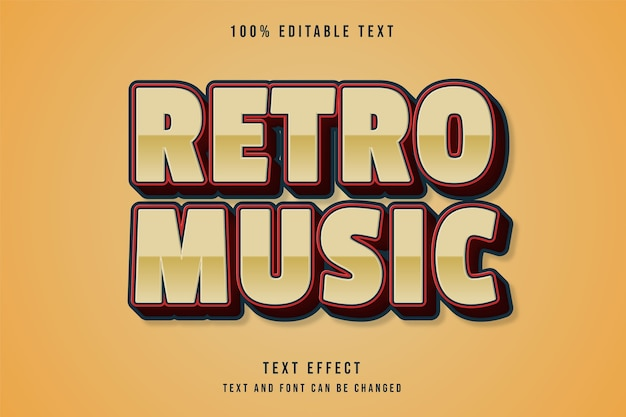 Retro-musik, bearbeitbarer roter comic-textstil der texteffektcreme