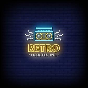 Retro musik festival leuchtreklame stil text