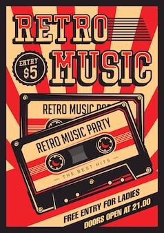 Retro musik-kompaktes kassetten-weinlese-signage-plakat