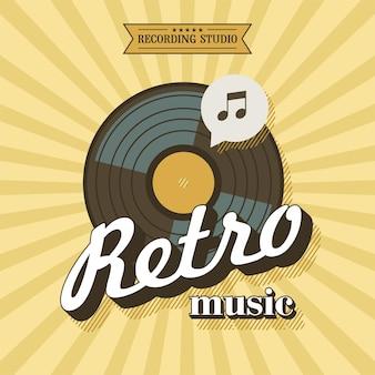 Retro-musik. vektorplakat im retrostil. die vinyl-schallplatte. aufnahmestudio
