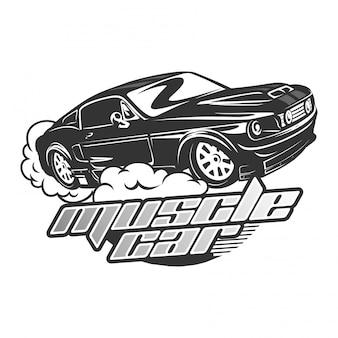 Retro muskel-auto logo vector