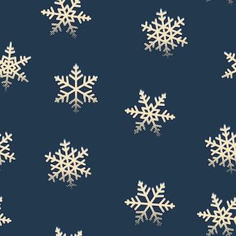 Retro- muster der nahtlosen schneeflocken für winter weihnachtsfeiertage