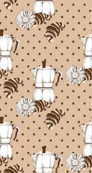 Retro- muster vektor des kaffeekessel- und hörnchenweinleses