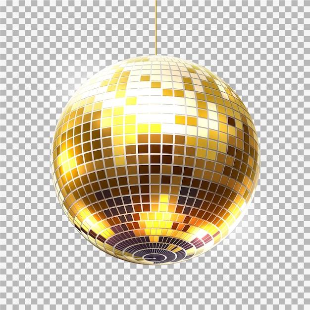 Retro-nachtclub-symbol des goldenen partyballs des vektors