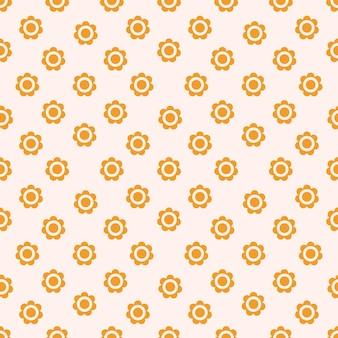 Retro nahtloses muster mit blumengänseblümchen in warmer farbpalette